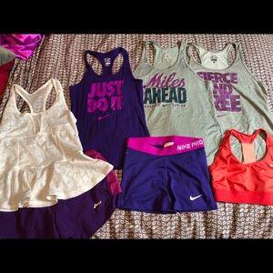 Women's Nike Bundle Dri Fit Tops and Shorts